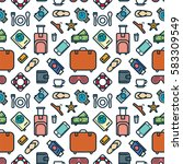 seamless pattern of icons.... | Shutterstock .eps vector #583309549