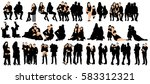 silhouettes collection family ... | Shutterstock .eps vector #583312321