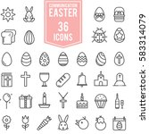 easter icons set illustration...