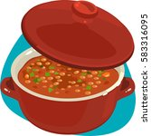 enameled dutch oven with baked... | Shutterstock .eps vector #583316095