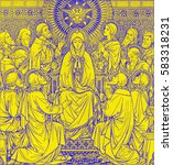 Small photo of BRATISLAVA, SLOVAKIA, NOVEMBER - 21, 2016: The lithography of The Pentecost in Missale Romanum by unknown artist with the initials F.M.S (1889) and printed by Typis Friderici Pustet.