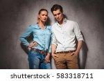 beautiful casual couple... | Shutterstock . vector #583318711