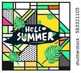trendy vector summer cards...   Shutterstock .eps vector #583321105