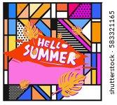 trendy vector summer cards...   Shutterstock .eps vector #583321165