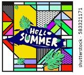 trendy vector summer cards...   Shutterstock .eps vector #583321171