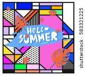 trendy vector summer cards...   Shutterstock .eps vector #583321225