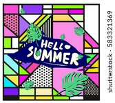trendy vector summer cards...   Shutterstock .eps vector #583321369