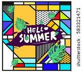 trendy vector summer cards...   Shutterstock .eps vector #583321471