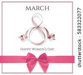 8 march greeting card template... | Shutterstock . vector #583322077