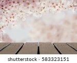 wood floor scene of vintage... | Shutterstock . vector #583323151