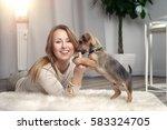 attractive friendly woman...   Shutterstock . vector #583324705