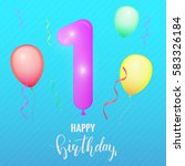 birthday greeting card template.... | Shutterstock . vector #583326184