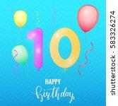 birthday greeting card template.... | Shutterstock . vector #583326274