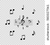 set of black music notes icon... | Shutterstock .eps vector #583327561