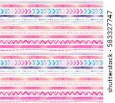 seamless watercolor ethnic... | Shutterstock . vector #583327747