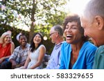 group of mature friends... | Shutterstock . vector #583329655
