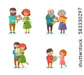 couples with bouquets of... | Shutterstock .eps vector #583330297