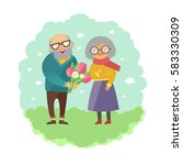 old man giving bouquet of... | Shutterstock .eps vector #583330309
