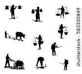 silhouettes of agriculturist... | Shutterstock .eps vector #583330849