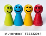 colored happy pawns  working... | Shutterstock . vector #583332064