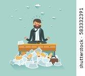 overworked businessman... | Shutterstock .eps vector #583332391