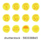 uv skin protection concept.hand ... | Shutterstock .eps vector #583338865