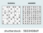 vector sudoku with answer 45.... | Shutterstock .eps vector #583340869