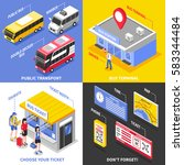 bus terminal isometric design... | Shutterstock .eps vector #583344484