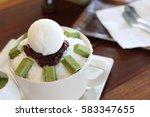 green tea ice cream and mint... | Shutterstock . vector #583347655