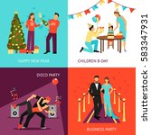 party design concept set with... | Shutterstock .eps vector #583347931