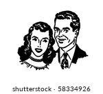 lovely couple   retro clip art | Shutterstock .eps vector #58334926