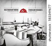 restaurant menu design. vector... | Shutterstock .eps vector #583349677