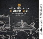 restaurant menu design. vector... | Shutterstock .eps vector #583349695