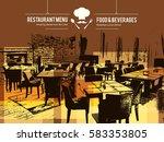 restaurant menu design. vector... | Shutterstock .eps vector #583353805