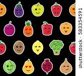 emotional vegetables and fruit... | Shutterstock .eps vector #583354591