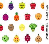 emotional vegetables and fruit... | Shutterstock .eps vector #583354639