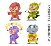 cute superhero kids in colorful ... | Shutterstock .eps vector #583356829