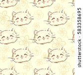 sketch cat pattern vector | Shutterstock .eps vector #583358695