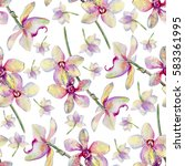 seamless floral pattern  orchid ...   Shutterstock . vector #583361995