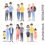 set of different asian couples... | Shutterstock .eps vector #583362955