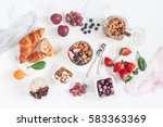 breakfast with muesli  fruits ... | Shutterstock . vector #583363369