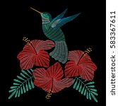 embroidery hummingbird with... | Shutterstock .eps vector #583367611