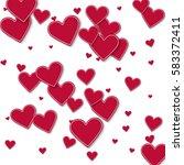 random red paper hearts.... | Shutterstock .eps vector #583372411