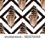 feather seamless pattern... | Shutterstock .eps vector #583376545