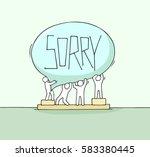 crowd of working little people...   Shutterstock .eps vector #583380445