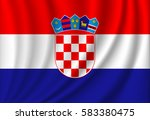 waving flag of croatia | Shutterstock . vector #583380475