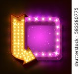 neon sign with arrow and... | Shutterstock .eps vector #583380775