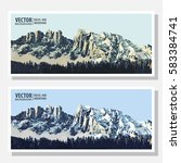 mountains ranges. forest. set.... | Shutterstock .eps vector #583384741