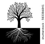 tree silhouette with leaves and ... | Shutterstock .eps vector #583386841