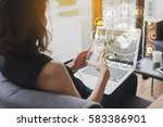 woman use smartphone and laptop ... | Shutterstock . vector #583386901